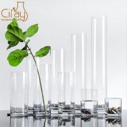 10cm de diámetro cilindro jarrones de vidrio con diferente altura y bajar MOQ