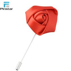 Multicolor de moda mayorista de tela personalizada disponible Broche de flor rosa de los hombres aguja larga Prendedores
