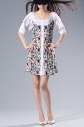 بسيطة مستقيمة أنابيب قصير كم نساء [كلّرلسّ] اثنان لون ثوب