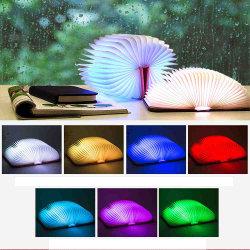 7 Licht van het Boek van kleuren het Houten, die Licht van het Bureau van de Lamp van het Boek het Draagbare, de van de Nieuwigheid Lantaarn van het leiden- Document met Navulbare USB vouwen