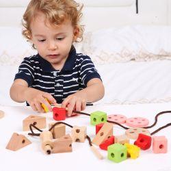 De houten het Rijgen Geometrische Blokken van de Vorm Geplaatst Stuk speelgoed voor Jonge geitjes Houten het Stapelen van de Sorteerder van de Kleur van de Vorm van 1 Jaar omhoog OnderwijsStuk speelgoed voor de Peuters van de Meisjes van de Jongens van de Baby met de Doos van de Opslag