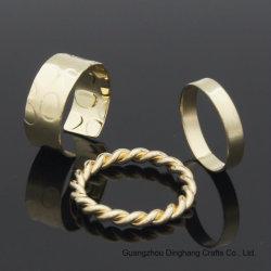 La mode trois ordinateurs Gold-Color ouvrir en relief l'anneau de martelage corde Ring Bague de polissage pour Unisex Bijoux Bijoux en vogue de la galvanoplastie &l'électrophorèse