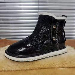 Nouveau Style Fashion tendance hiver Chaussures femmes avec des prix bon marché fourrure véritable de la neige à la cheville Bottes noir brillant