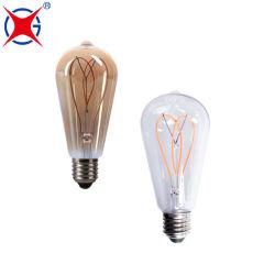 Fabricante chinês St64 E27 LED Light filamento espiral LED Energia Lâmpada economizadora com RoHS CE