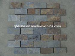 Mosaico de pizarra multicolor decoración de pared de piedra de piedra