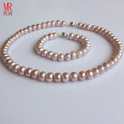 9-10mm AAA Natural Freshwater Pearl Necklace Sets