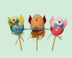 6 uovo di cm DIY con la decorazione dei bastoni per Pasqua