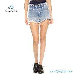 Heiße Verkaufs-Form-blaue dünne ausgefranste beunruhigte Minihosen-Dame-/Frauen-Denim-Kurzschlüsse durch Jeans Manufacturer (Kurzschlüsse E.P. 222)