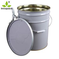Lata de pintura de tamaños de la cuchara de metal de 20 litros cubo con el anillo de bloqueo de la tapa y asa metálica