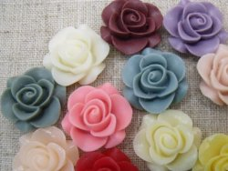 Resina Rose Flower Cabochons redondo