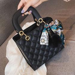 El Diseñador de lujo en las mujeres de la cinta de cuero de PU bolsas de hombro acolchada de moda bolso bolso de dama de la celosía