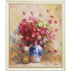 Decoração artesanal ainda Arte Vida vaso de flores vermelhas pintura a óleo sobre tela