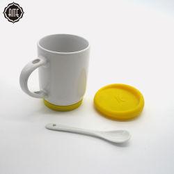 Buy Cheap Wholesale Fashion Design céramique blanche Mug tasse de café avec couvercle et cuillère