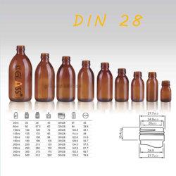 30-500мл желтые стеклянной бутылки сироп DIN28 готово фармацевтической бутылок