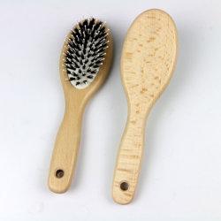 Cojín de madera natural Boar cepillo de pelo de cerdas, cepillo de pelo de madera de paletas, cómodo cojín de aire, cerdas hipoalergénicas antiestáticas