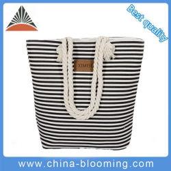 China Fabricación mayorista Distribuidor de dama moda mujer supermercado personalizado en el bolso de mano de lienzo de la palanca de la cuerda plegable hombro Compras de viajes Bolsa de playa