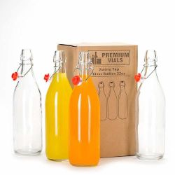 100ml 250ml 500ml 750ml 1000ml en verre bouteille de boisson avec Swing Bouchon supérieur