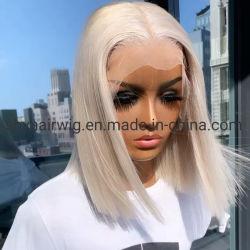 Curto prateado de corte de cabelo humano Rendas Perucas 13*4 Loira Lace Front Bob de cabelo humano Perucas Pre-Plucked Reta Brasileira Lace Cabeleiras Frontal 150% de densidade Remy Peruca