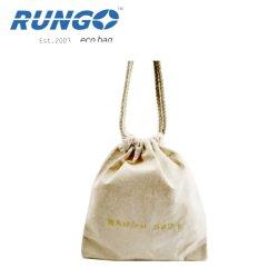 Sacchetti di Drawstring bianchi della tela di canapa del cotone di stampa su ordinazione di marchio del ricamo