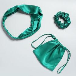 Ym307 100% Soie Soie Hairband Charmeuse Scrunchie décorer les filles bandeau élastique sèche cravate ensemble cadeau vert avec un sac de stockage