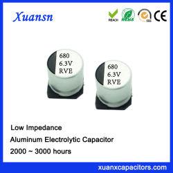 SMD de alta estabilidad alta frecuencia de condensadores electrolíticos de 6.3V 680UF
