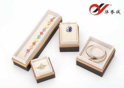 Madeira maciça/marrom+Paper logotipo OEM jóias /Jóias Caixa de Exibição do conjunto de embalagem