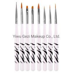 8pcs/Set Professional Nail Art Brush set herramientas de pintura que salpican la manicura cepillos Zebra Kits de Pen