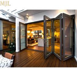 Quatro Painel de vidro corrediço de porta Bifold de alumínio de madeira para construção
