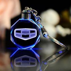 다채로운 LED 빛을%s 가진 Keychain를 유행에 따라 디자인 하는 차 로고 Keychain 주문을 받아서 만들어진 Laser에 의하여 새겨지는 수정같은 열쇠 고리