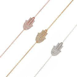 カスタマイズされる925純銀製及びCZはめっきされたHamsaデザインブレスレットの方法宝石類か宝石類を着色する