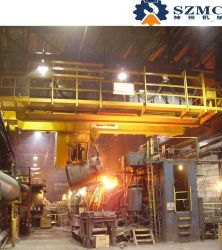 高品質32tの鋼鉄工場で使用されるホックが付いている二重ガードの冶金学の鋳造Eotの天井クレーン