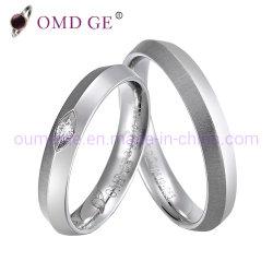 Borda Cônica Zircónia cúbicos diamante única Sterling Silver anéis de casamento