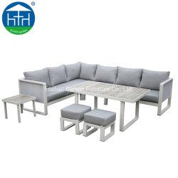 أثاث خارجي من الألومنيوم الفاخر حديقة أثاث خارجي معدني على شكل حرف L ردهة أريكة يمكن تحويلها إلى سرير