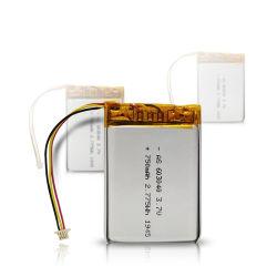 Professionelle Lithium-Batterie gemäß UL/Kc/Un38.3, 2,775WH 3,7 V 750 mAh 603040