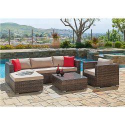 5pcs patio du jardin extérieur moderne canapé d'angle de meubles en rotin
