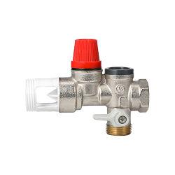 Válvula de alívio de Segurança de latão para sistemas de aquecimento aparafusada BSPP com Manómetro de pressão