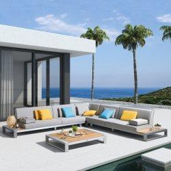 Restaurante luxuoso mobiliário sofá de alumínio lazer ao ar livre com o Projeto de Teca