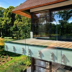 Varanda Wallmounted grades de braçadeiras de vidro para a Grade de aço inoxidável a Montagem do Trilho