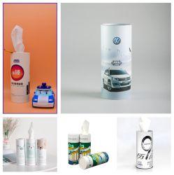 Carro Facial descartável / Conservas de tecidos em uma caixa em canisters com perfeito encaixe do suporte para copos