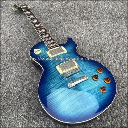 2019 Zeichenkette-elektrische Gitarre der Qualitäts-6, Mahagonikarosserie mit geflammter Ahornholz-Oberseite, blauer Farben-Lack, freies Verschiffen