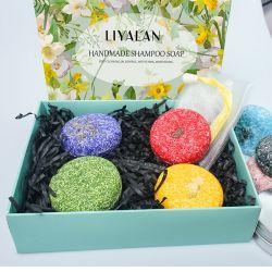 Großhandelseigenmarken-Zinn-Kasten-fester Seifen-Haar-Sorgfalt-Reinigungvegan-natürlicher organischer Kräuterhaar-Blumenblatt-Shampoo-Stab