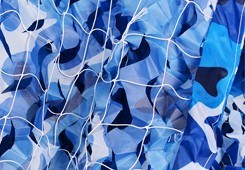 Heißer Verkaufs-militärische wasserdichte blaue Ozean-Tarnung-Netz-Masse-RollenCamo Filetarbeit für Sonnenschutz-Dekoration