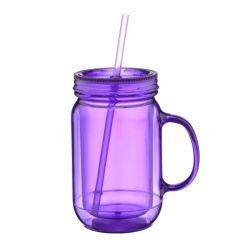 Vendita prodotti 20 oz plastica Commercio all'ingrosso Mason vaso Mug con manico Tazze con coppe in plastica trasparente da 20 ml con cannuccia