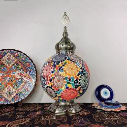 مصباح طاولة فسيفساء تركي كبير الحجم مصنوع يدويًا بأسلوب فنّ زخرفة مصباح الطاولة (WH-VTB-12)