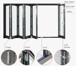 Design moderno de BI de alumínio Porta de dobra com isolamento térmico de baixa e vidros duplos de vidro para piscina Sunroom Glass House prédio comercial