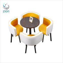 레저 작은 원형 식사 테이블 북유럽 라이트 럭셔리 스타일 가구 5피스 커피 테이블 발코니 협상 테이블 레저 리셉션 테이블 및 의자 세트
