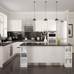 Pintado de moderno diseño de muebles armarios de madera maciza acabado mate personalizado pintura blanca kitchen cabinet con granito Tops