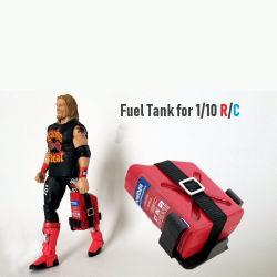 1:10 1/10 Mini modelo de simulación del depósito de combustible con la etiqueta y correa para el coche RC Decoración