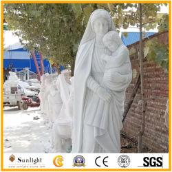 판매를 위한 동정녀 마리아 자연적인 백색 대리석 카톨릭교 종교적인 동상