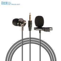 Con cable de 3,5 mm mini Collar de solapa Lavalier Micrófono de clip de corbata con el Monitor Auricular con micrófono para smartphones y tablet